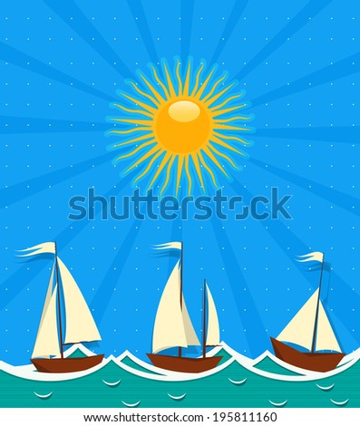 Seascape background with sailing ships in the sunset - stock photo