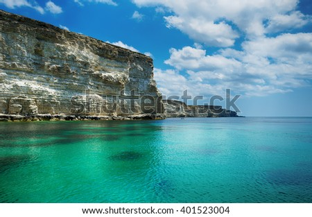 seascape, beautiful views of the rocky cliffs to the sea, Tarhankut, Crimea, Russia - stock photo