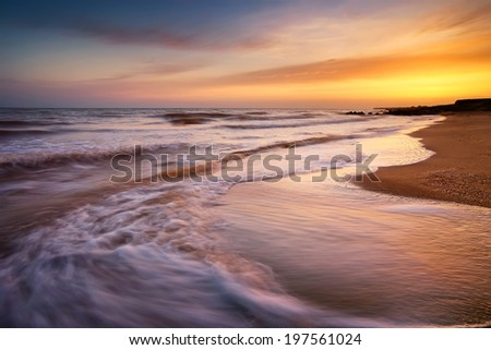 Seascape during sundown. Beautiful natural seascape - stock photo