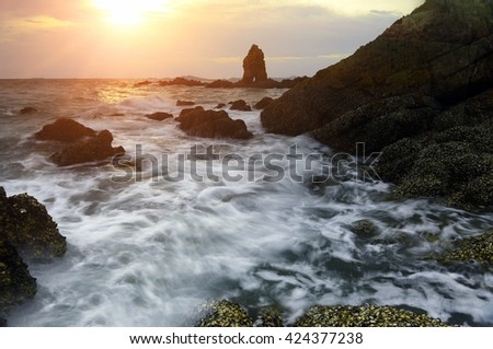 Seascape during sundown. Beautiful natural summer seascape - stock photo