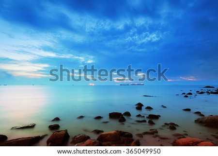 Seascape during sunset - stock photo