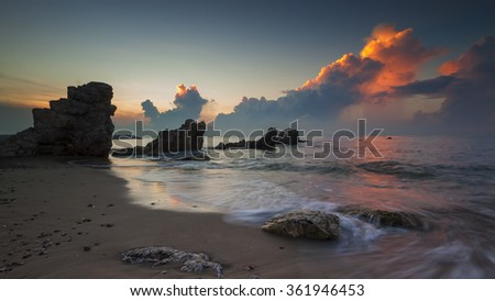 Seascape during sunset. Beautiful natural seascape with dramatic sky