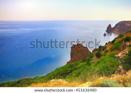 seascape Fiolent Crimea. Panoramic vew. Rocks at foreground - stock photo