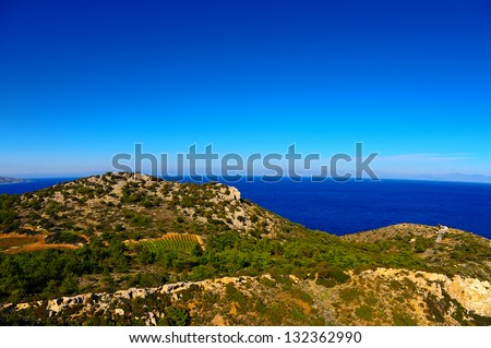 Seascape Greek Island of Rhodes with The Rugged Coast - stock photo