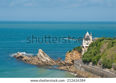 Seascape in Biarritz, Aquitaine, France  - stock photo
