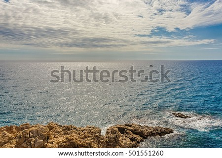 Seascape in Blanes with rock Sa Palomera, Costa Brava, Catalonia, Spain.
