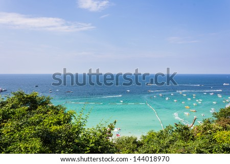 Seascape in blue sky day at Koh Larn, Pattaya, Thailand - stock photo