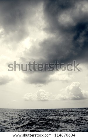 Seascape in Malaysia with dramatic sky - stock photo