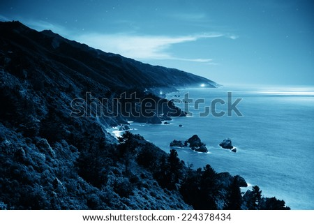Seascape in Moonlight in Big Sur in California. - stock photo