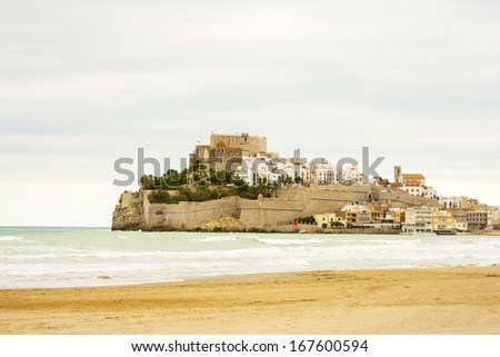 Seascape in Peniscola - stock photo