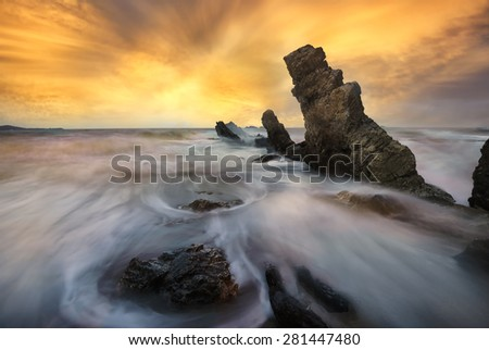 seascape in thailand, rocked ripples - stock photo