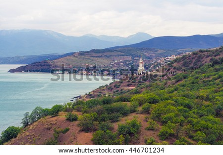 seascape Lighthouse Church of St. Nicholas of Myra in the Crimea  - stock photo