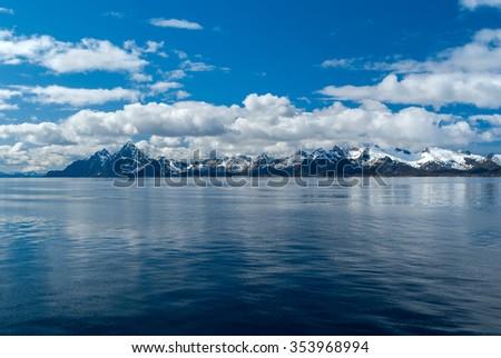 Seascape Lofoten Islands in Norway - stock photo