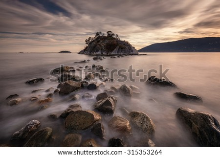 seascape long exposure at Whytecliff Park, West Vancouver, British Columbia, Canada - stock photo