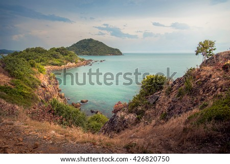 seascape of a part of the gulf on Thailand in the evening. - stock photo