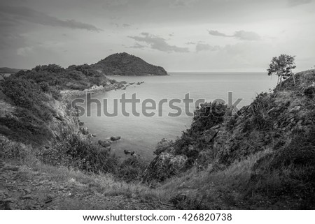 seascape of a part of the gulf on Thailand in the evening. black and white - stock photo