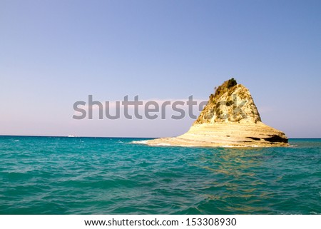 Seascape of coast and beaches in Corfu island, Greece - stock photo