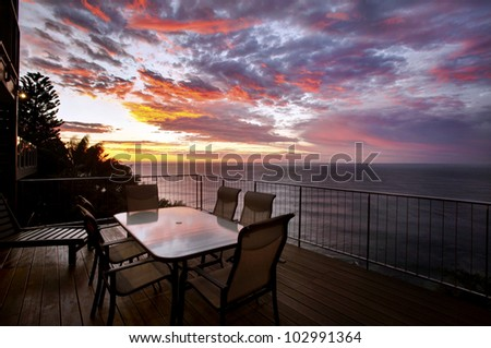 seascape of coast view at sunrise - stock photo