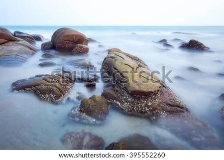 Seascape of Larn hin khao, Rayong, Thailand - stock photo