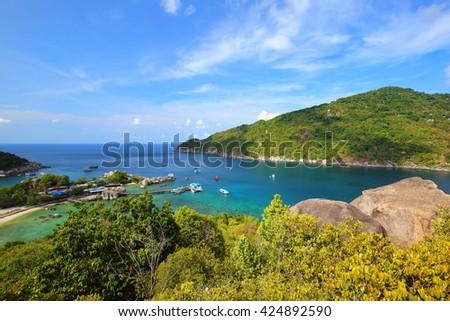 Seascape of Nang Yuan Island, Surat Thani, Thailand - stock photo