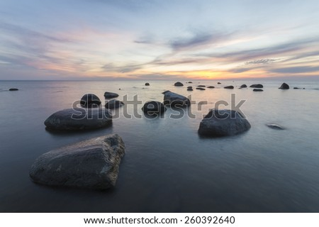 seascape of the Baltic Sea, the composition of the scattered boulders