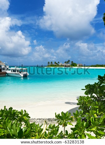 seascape on maldives island resort - stock photo