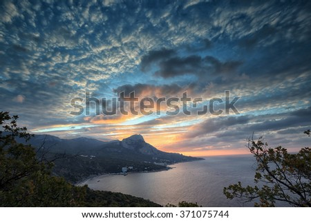 seascape picturesque coast of Crimea at sunset, view from the mountain, Laspinsky pass