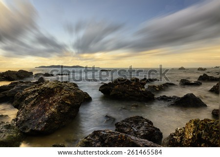 seascape , ripple,coastol Sunrise  black and white tone. - stock photo