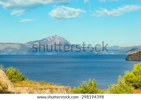 Seascape. Sea, mountains and sky of Italy. The shores of the Tyrrhenian Sea.