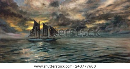Seascape ship oil painting
