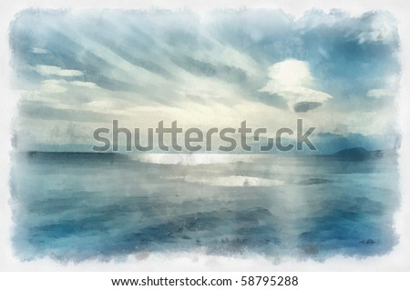 seascape sketch on watercolor paper - stock photo
