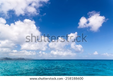 Seascape Sunny day. Blue sky and blue water. The Seychelles.