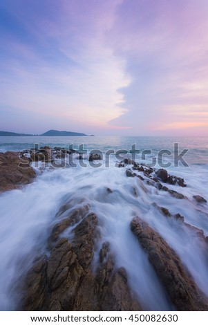 seascape sunset with beautiful clouds at Phuket, Thailand. - stock photo