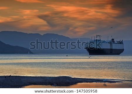 Seascape, the Red Sea near Eilat, Israel - stock photo