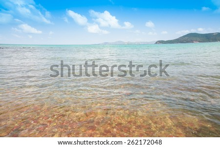 Seascape under blue sky in summer