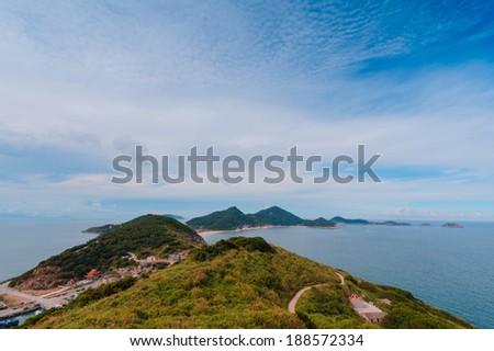 seascape view from a hillside at Matsu,Taiwan - stock photo
