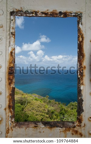 Seascape view from ancient   lighthouse window. Isla Grande, Colon province, Panama, Caribbean, Central America.