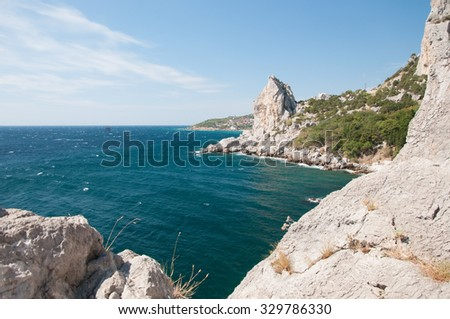Seascape view of Black Sea coastline, southern part of Crimea - stock photo