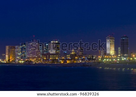 Seascape view of Tel aviv  Israel at night - stock photo