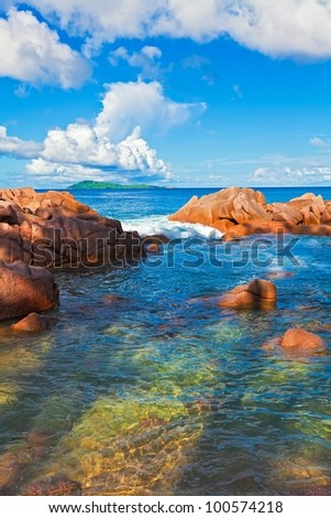 Seascape view with a huge stones, Seychelles, La Digue island - stock photo