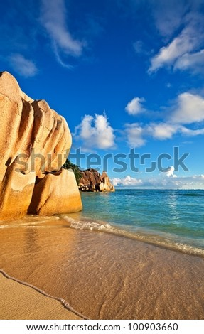 Seascape view with a huge stones, Seychelles, La Digue island