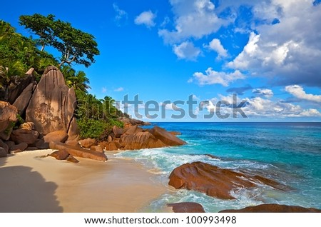 Seascape view with a huge stones, Seychelles, LaDigue island - stock photo