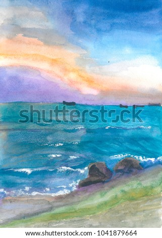 Seascape watercolor painting. Hand painted sea and sky illustration.