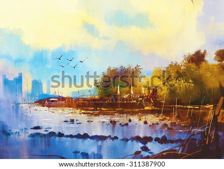 seascape watercolor painting of beautiful beach at sunset - stock photo