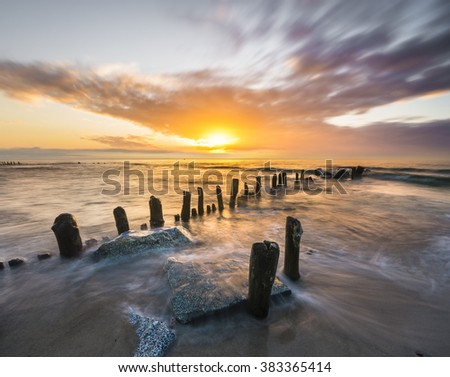 Seascape, waves breaking on the shore - stock photo