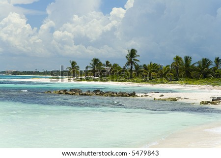 Seascape with clear blue water and a white sandy beach