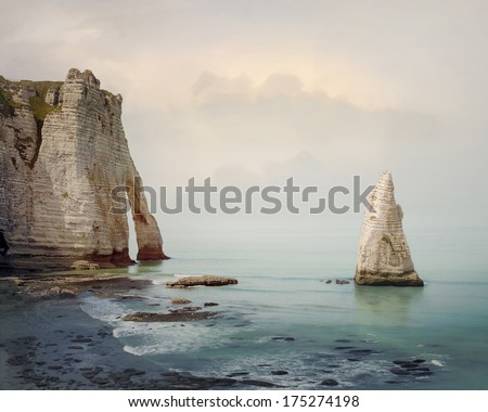 Seascape with cliffs at the Etretat Cote d'Albatre. Normandy sea shore, France