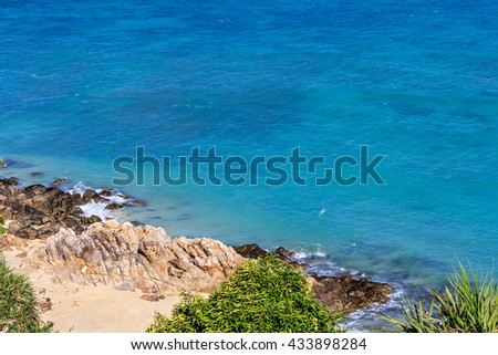 Seascape with rocks and sand at Lipe island, Thailand. Selective focus - stock photo