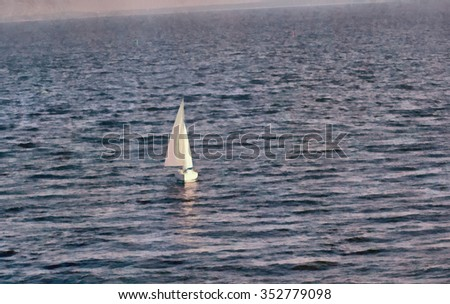 Seascape with sailboat.