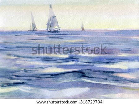 Seascape with sailboat. Watercolor. - stock photo